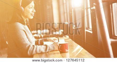 Woman Hobby Coffee Shop Listening Music Concept