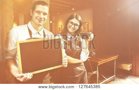 Barista Staff Working Coffee Shop Cafe Cheerful Concept