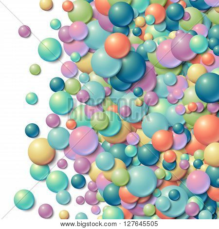 Background with scattered messy glowing rubber balls
