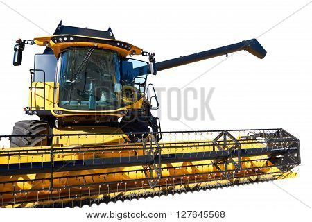 Harvester isolated on white background, farming techniques, modern combine harvester, fertile land, agricultural production, harvester close-up, equipment for cultivation.