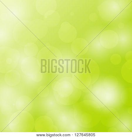 Abstract bokeh circles design on green background, stock vector