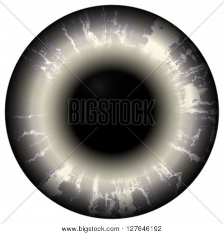 Death hungry eye. Illustration of scary dark eye iris light reflection. Open strange eyes