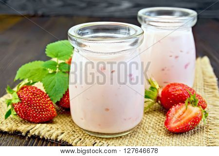 Yogurt With Strawberries On Sacking