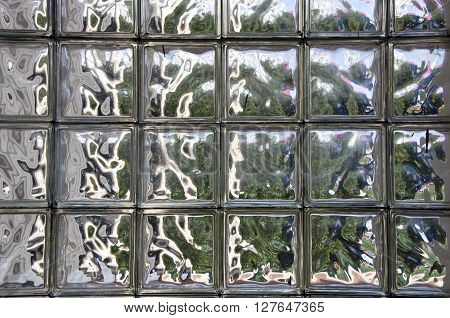 Abstract glass tile wall background and reflections