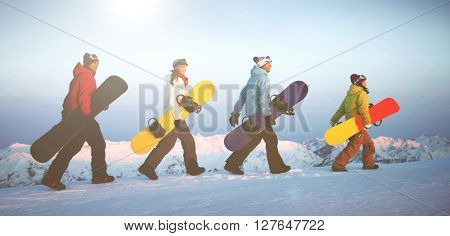 Group Snowboarders Top Mountain Concept