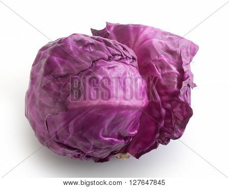 Top view of head of red cabbage on the white background