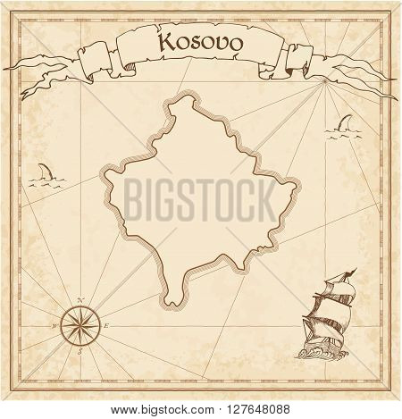 Kosovo Old Treasure Map. Sepia Engraved Template Of Pirate Map. Stylized Pirate Map On Vintage Paper