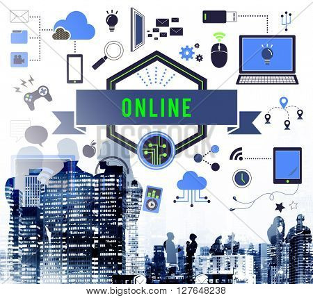 Online Devices Share Socialize Computer Concept