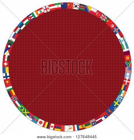 dark red diamond pattern with round flags frame