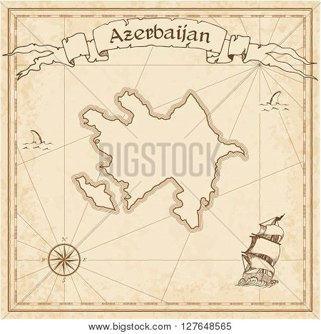 Azerbaijan Old Treasure Map. Sepia Engraved Template Of Pirate Map. Stylized Pirate Map On Vintage P