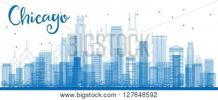 Outline Chicago city skyline with blue skyscrapers. Business travel and tourism concept with modern building. Image for presentation, banner, placard and web site