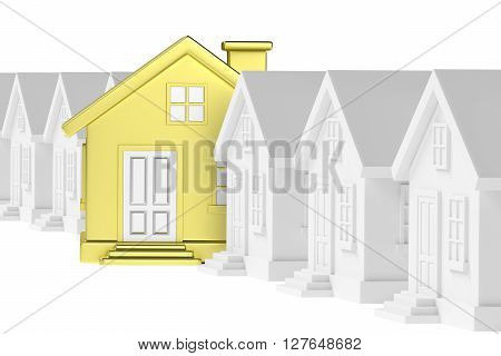 Golden Unique House Standing Out From Row Of Gray Houses.