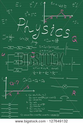 physics formulas drawing on school board vector illustration