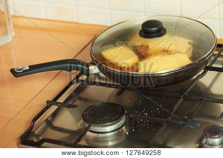 Frying Chicken Cutlet With Pineapples And Cheese.