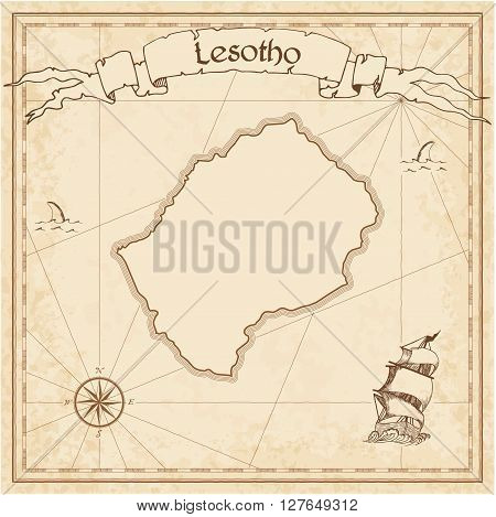 Lesotho Old Treasure Map. Sepia Engraved Template Of Pirate Map. Stylized Pirate Map On Vintage Pape
