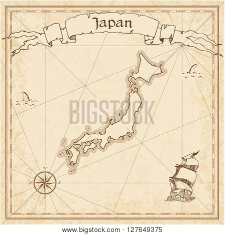 Japan Old Treasure Map. Sepia Engraved Template Of Pirate Map. Stylized Pirate Map On Vintage Paper.