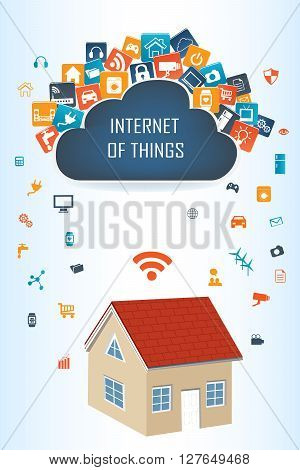 Internet of things concept and Cloud computing technology Smart Home Technology Internet networking concept. Internet of things cloud with apps.Cloud computing technology device.Cloud Apps