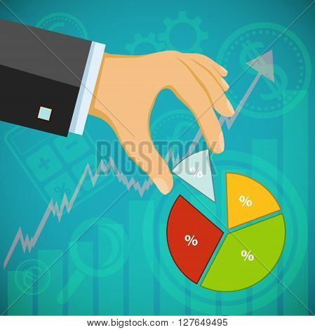 Businessman holding a financial graph. Revenues and profits. Investments in development. Stock vector illustration.
