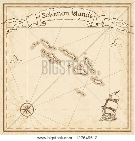 Solomon Islands Old Treasure Map. Sepia Engraved Template Of Pirate Map. Stylized Pirate Map On Vint