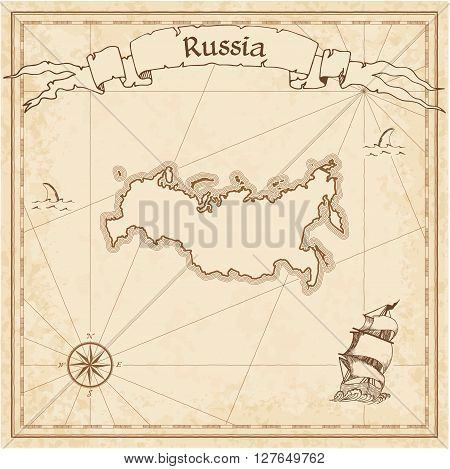 Russian Federation Old Treasure Map. Sepia Engraved Template Of Pirate Map. Stylized Pirate Map On V