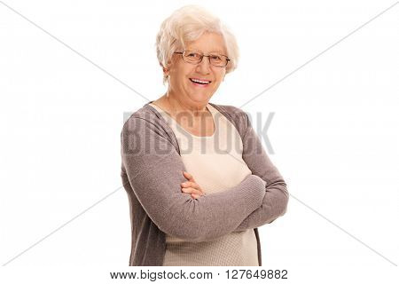 Studio shot of a joyful elderly lady posing isolated on white background