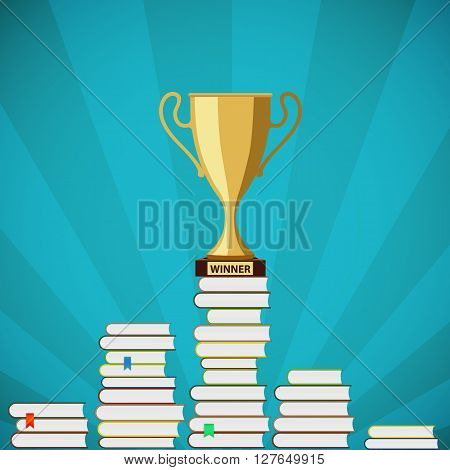 Gold Cup is standing on a pile of books. Stock vector illustration.