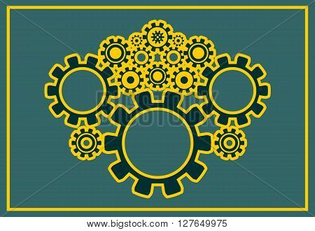 Cog wheels background. Decoration pattern from gears. Precision machinery relative backdrop