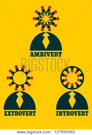 Extrovert introvert and ambivert simple icon metaphor. image relative to human psychology