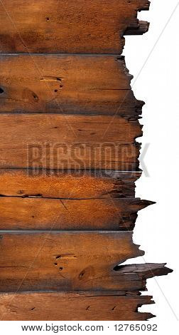 charred wood board isolated on white
