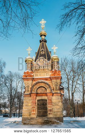 Chapel-tomb of Paskevich - 1870-1889 years in Gomel, Belarus. Winter season