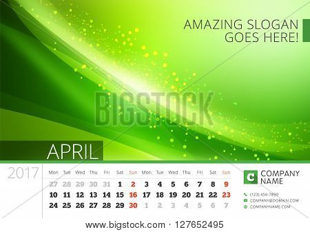 Desk Line Calendar For 2017 Year. Vector Design Print Template With Abstract Background. April. Week