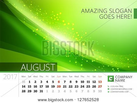 Desk Line Calendar For 2017 Year. Vector Design Print Template With Abstract Background. August. Wee