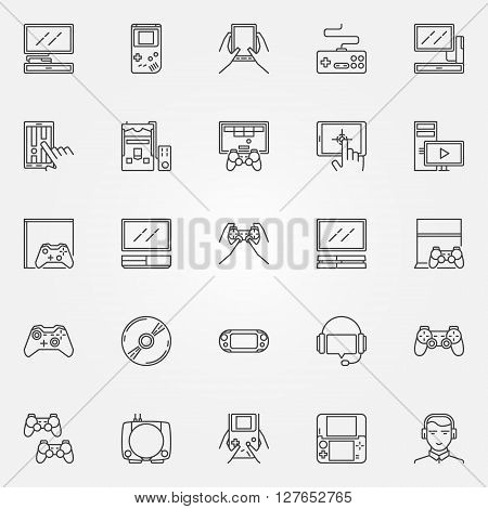 Game console icons set - vector linear video game symbols. Game thin line signs or logo elements