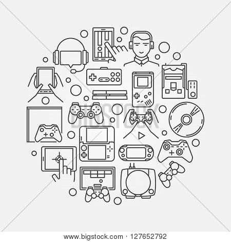 Gaming round illustration - vector console and mobile gaming symbol in thin line style