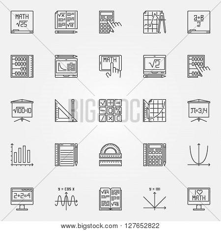 Math icons set - vector linear mathematics symbols or algebra signs