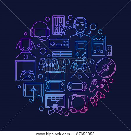 Video games round design - vector round game symbol made with linear game consoles, joysticks and gadgets signs
