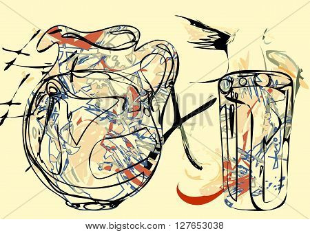 abstract pitcher. painting of still life with pitcher and glass