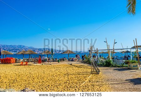 EILAT ISRAEL - FEBRUARY 23 2016: The sport zones are the necessary attribute of beaches in Eilat on February 23 in Eilat.
