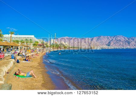 EILAT ISRAEL - FEBRUARY 23 2016: Comfortable beaches of popular resort Eilat in Israel on February 23 in Eilat.