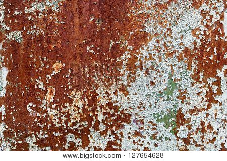 Texture of rusty metal with cracked paint. Old peeling paint with cracks and rust spots. Old grunge material.