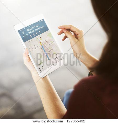 Connection Map Navigation Direction Concept