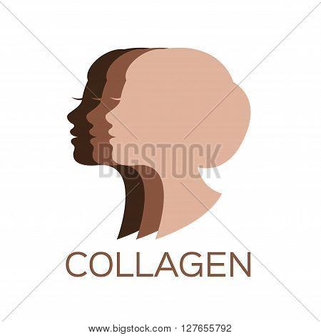 collagen logo, 3 steps from dark brown to light brown