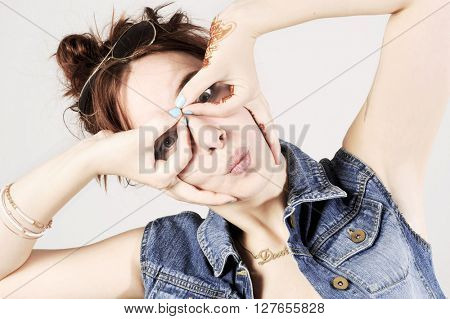 funny attractive hipster girl clowning, happy lifestyle concept