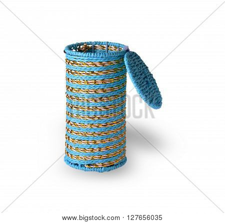 woven cylindrical open box on a white background