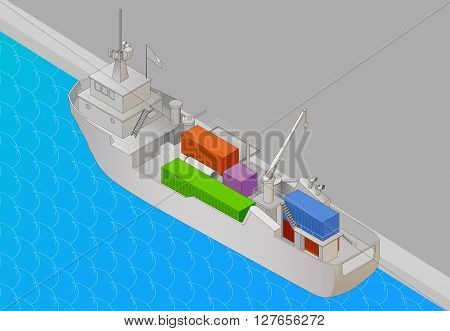 Cargo vessel isometric view flat vector 3d illustration. Tanker heavy ship with containers icon, vector illustration