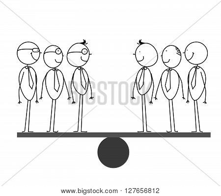 3 & 3 Businessman on scales .eps10 editable vector illustration design