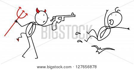Businessman job fired with red devil .eps10 editable vector illustration design