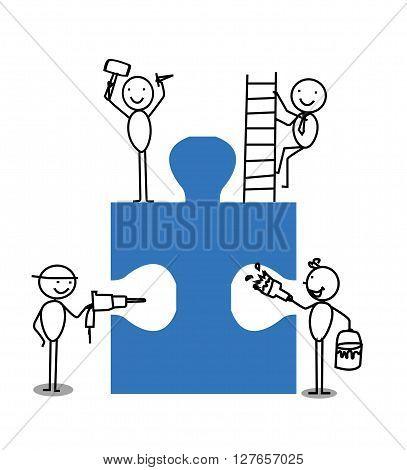 Businessman Teamwork Jigsaw .eps10 editable vector illustration design