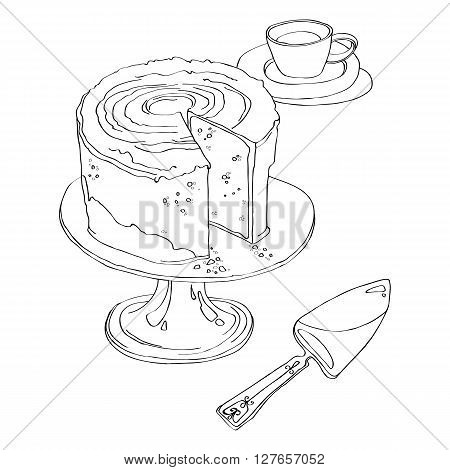 delicious cake stands on Pedestal Cake Plate with a cup of tea and spatula for a pie. black and white vector illustration isolated on white background. coloring page