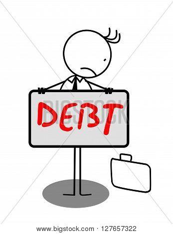 Businessman Sad Debt Banner .eps10 editable vector illustration design